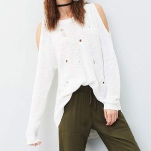 Bp. Destroyed Cold Shoulder White Pullover Sweater